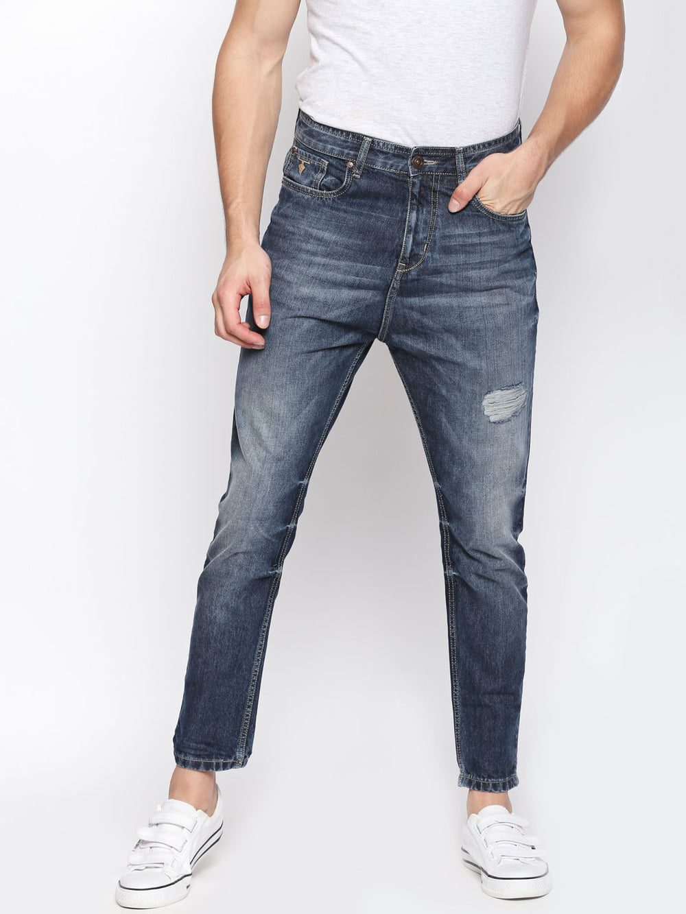 Disrupt Blue 100% Cotton Regular Fit Jeans For Men's