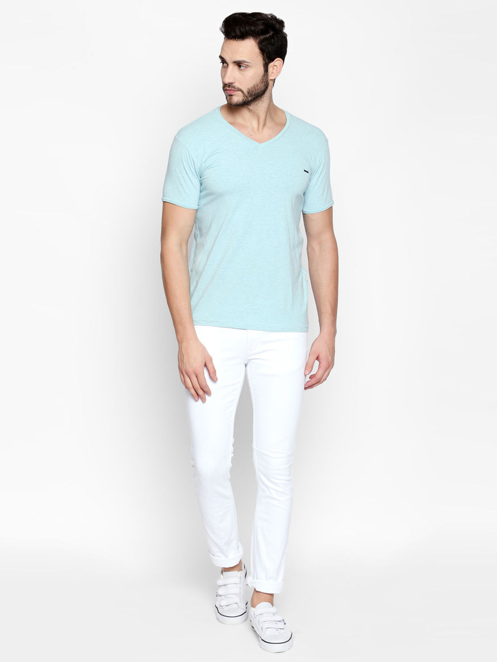 Disrupt White Slim Fit Jeans For Men's