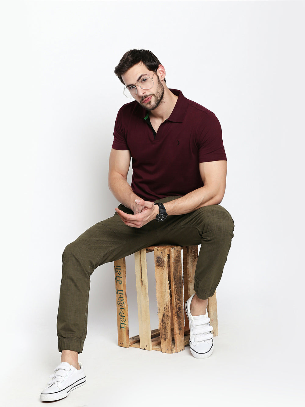 Disrupt Olive Regular Fit Joggers For Men's