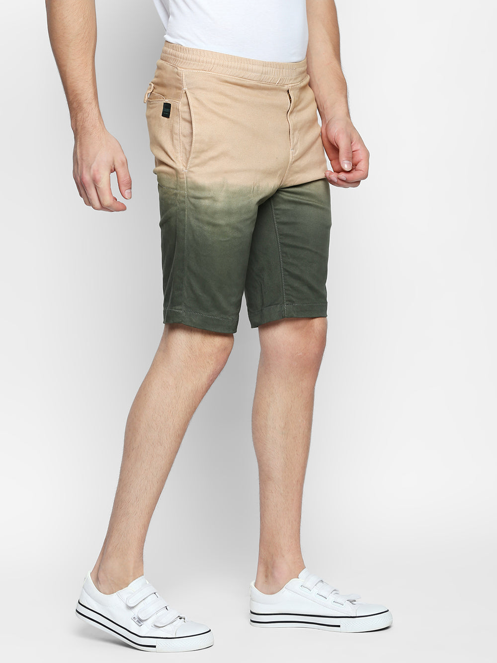 Disrupt Beige Cotton Regular Fit Shorts For Men's