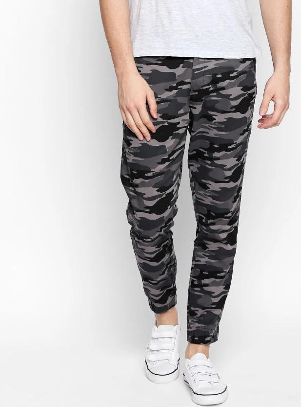 Disrupt Grey Cotton Regular Fit Joggers For Men's