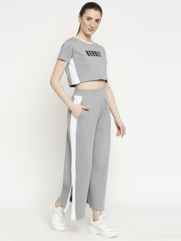 Disrupt Women Grey Typographic Two-Piece Co-ords
