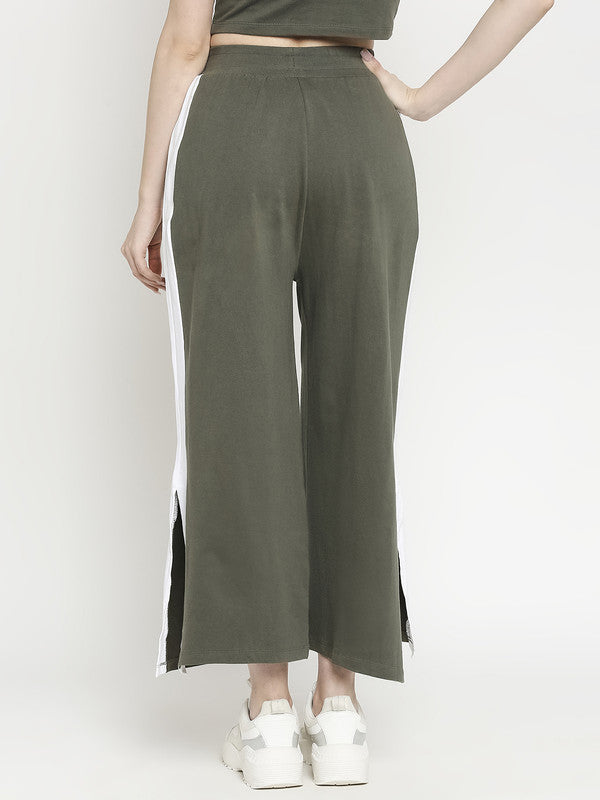 Disrupt Women Olive Green Typographic Two-Piece Co-ords