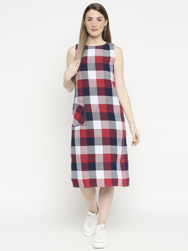 Disrupt Women Red Checks Dress With Side Slit