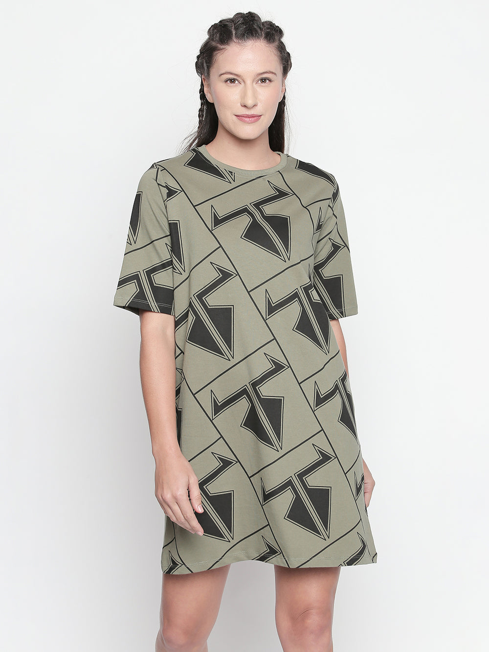 Olive Disrupt Logo Graphic Print Dress