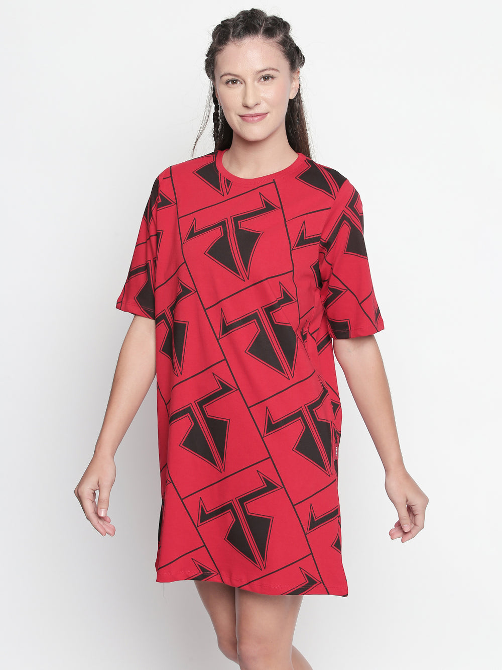 Red Disrupt Logo Graphic Print Dress