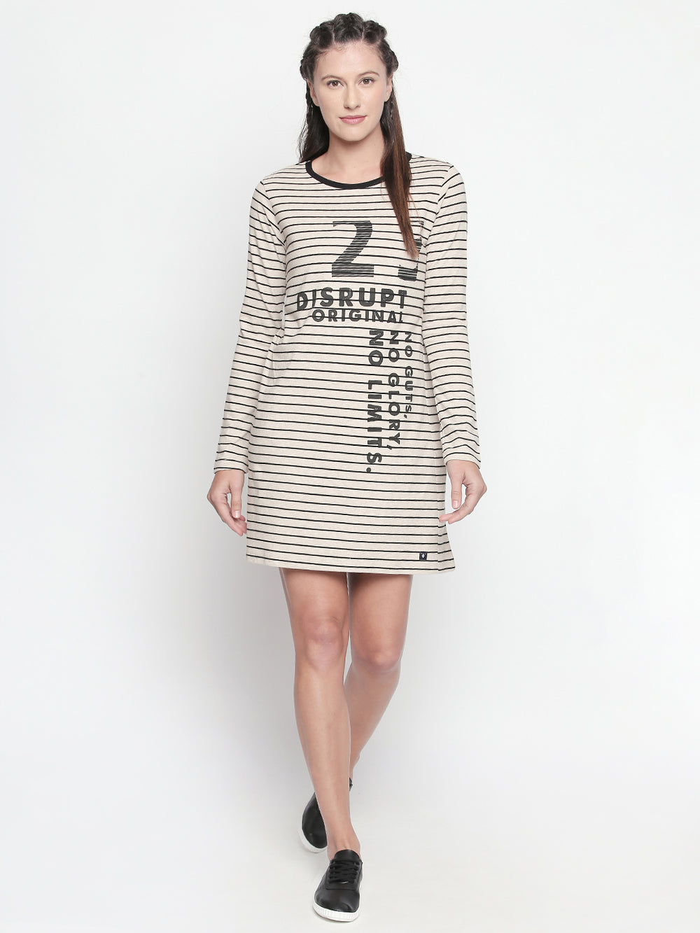 DISRUPT Striped Beige Dress For Womens