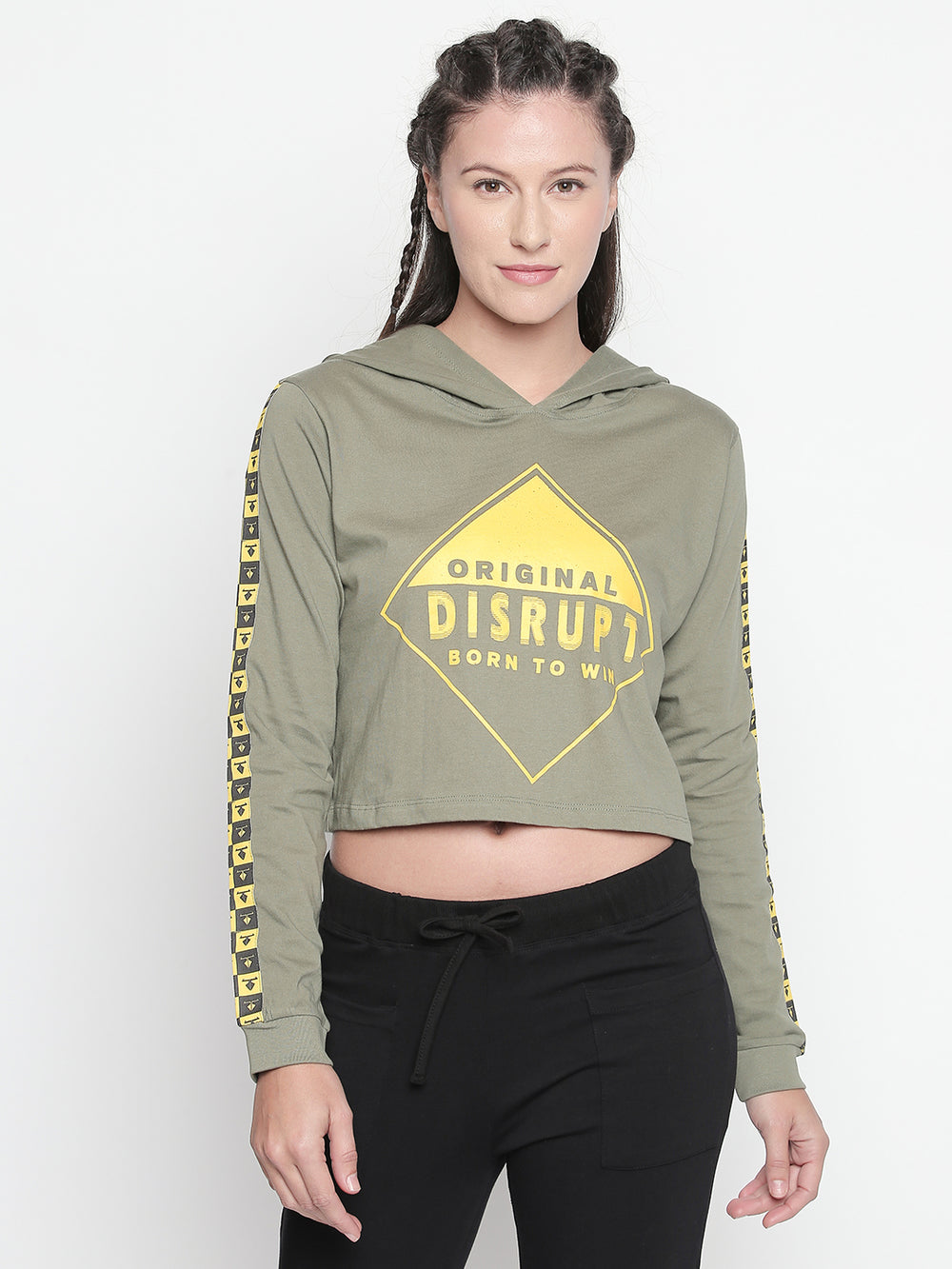 Round Neck Olive Printed Pullover for Women
