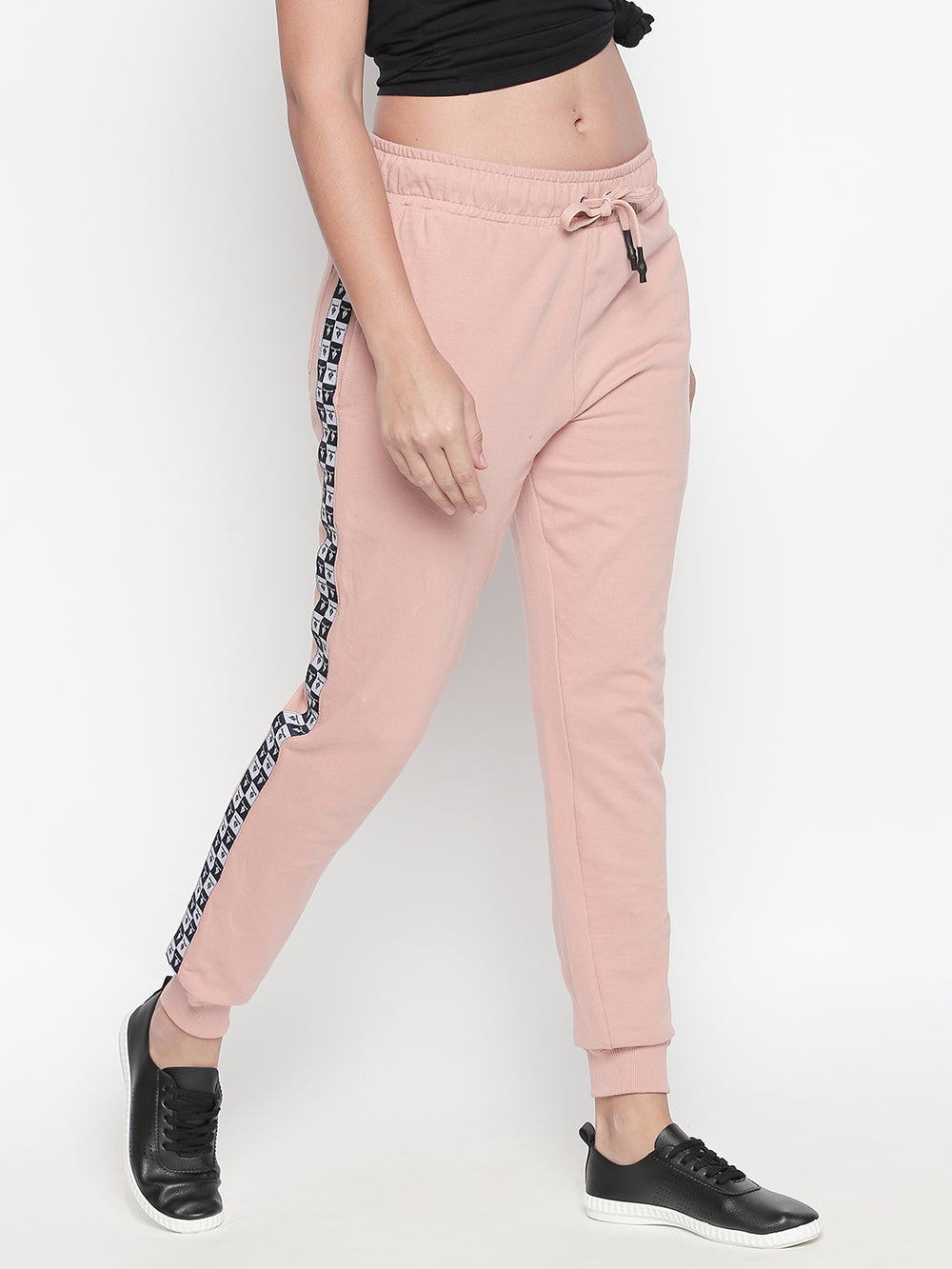 Light Pink Checkered Tape Cuffed Joggers