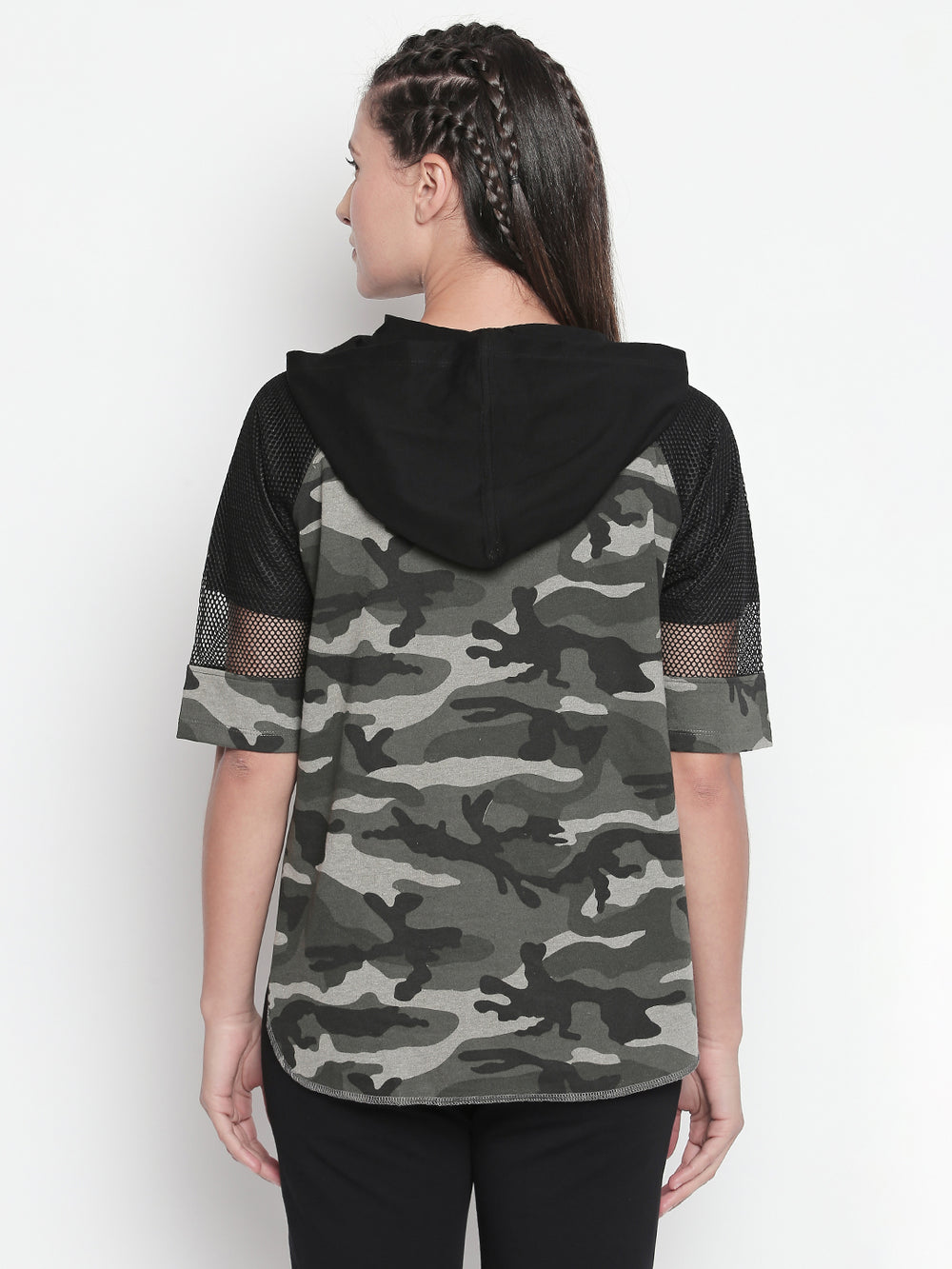 Olive Camouflage Print Mesh Sleeve Pullover