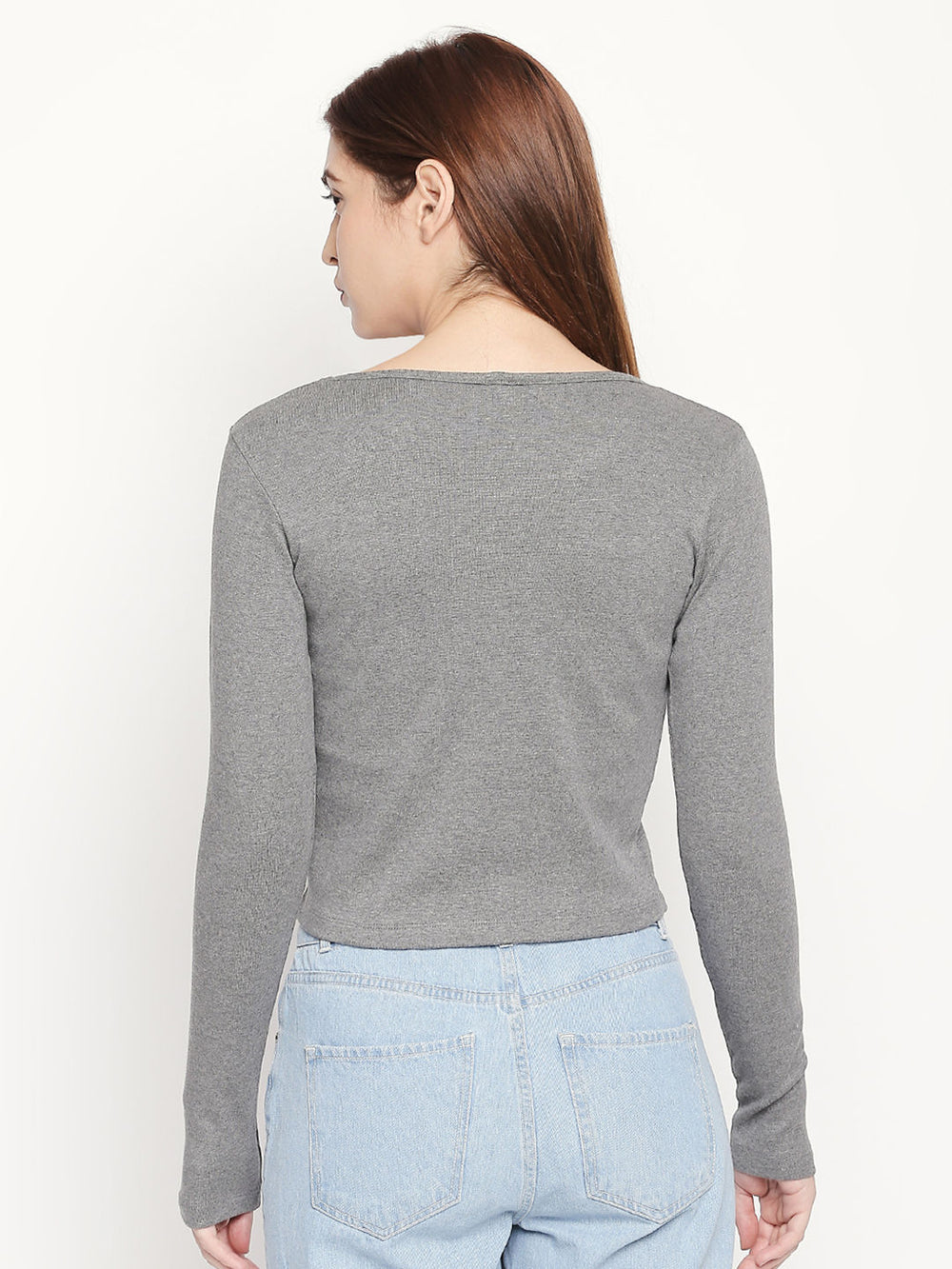 Grey Round Neck Slim Fit Top For Women's