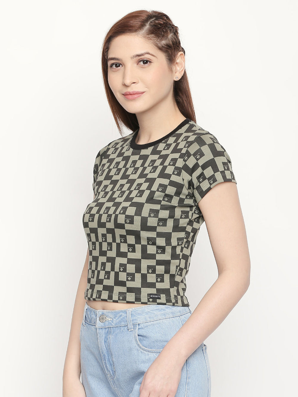 Olive All Over Printed Slim Fit Top