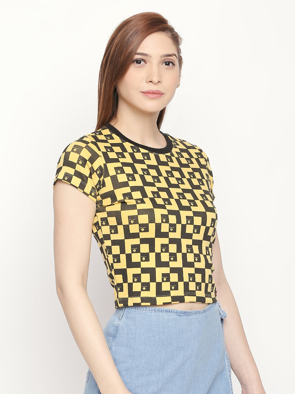 Yellow All Over Printed Slim Fit T-shirt For Women's