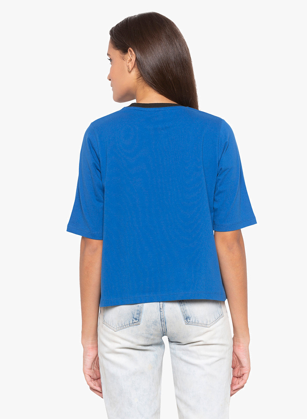 Royal Blue Boxy Slogan T-shirt