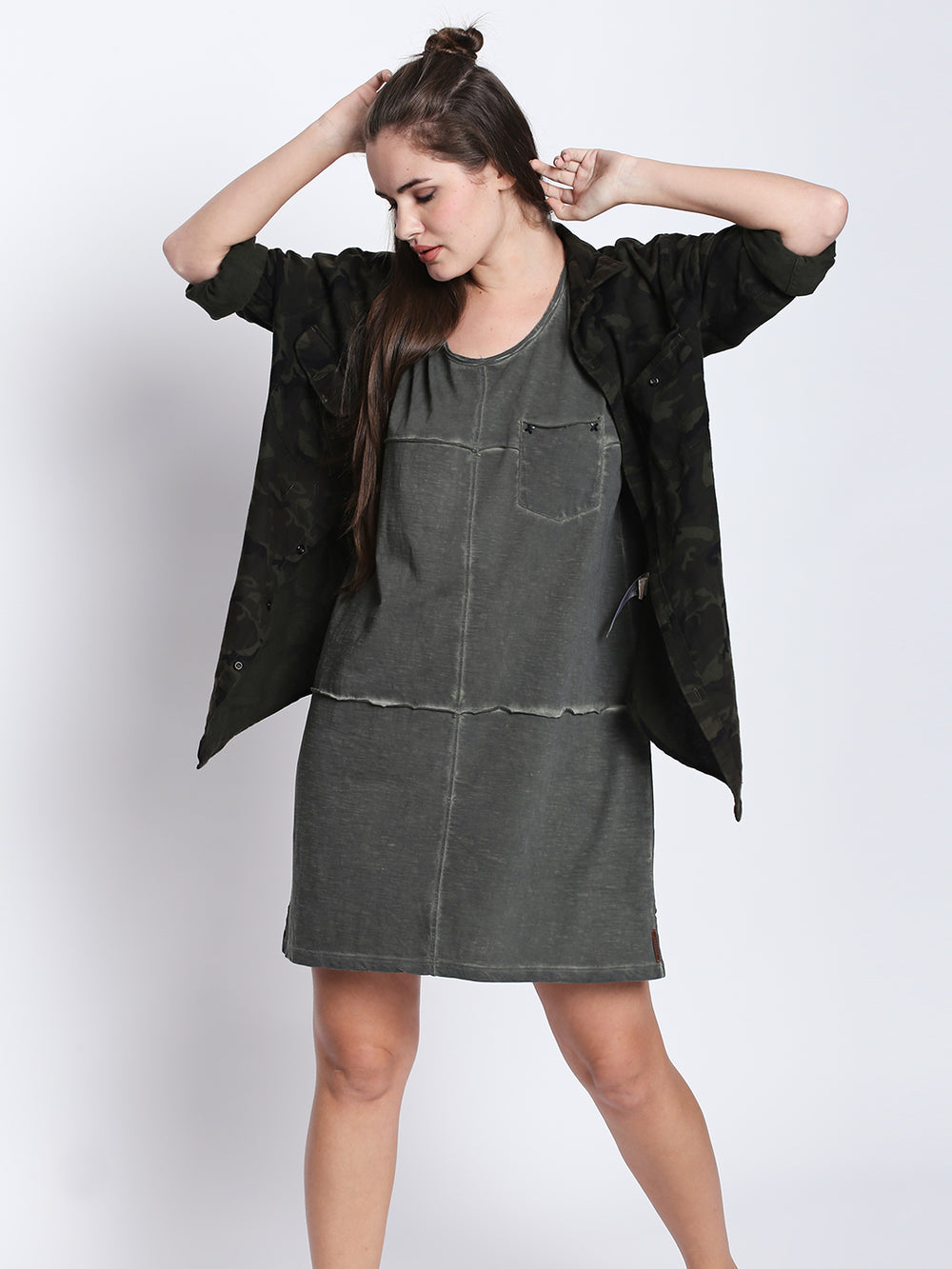 Olive Dyed Cut N Sew Sleeveless Dress