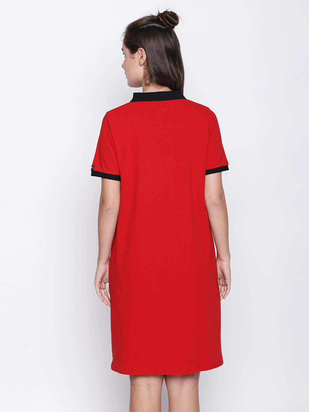 Red Cotton Half Sleeve Polo Dress
