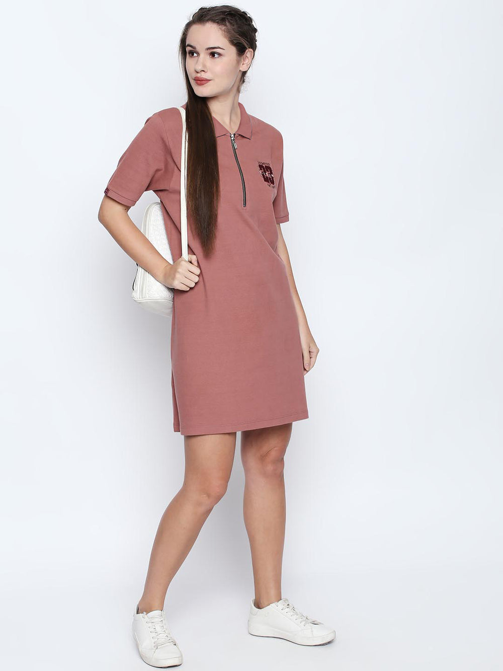 Pink Cotton Embroidered Polo Dress