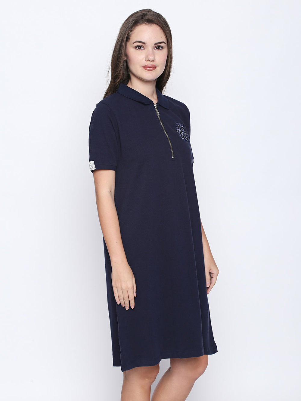 Navy Blue Cotton Half Sleeve Polo Dress