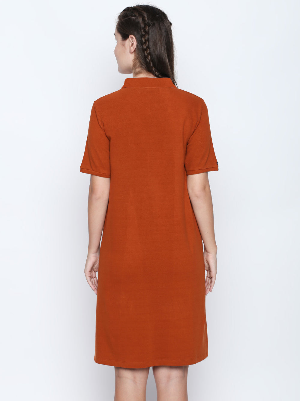 Orange Rust Cotton Embroidered Half Sleeve Polo Dress
