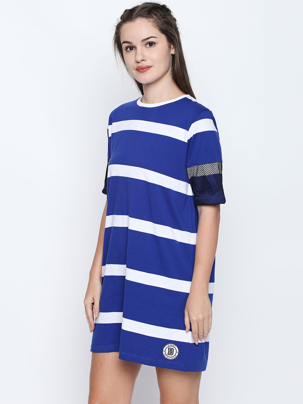 Blue N White Striped Cotton Half Sleeve Dress