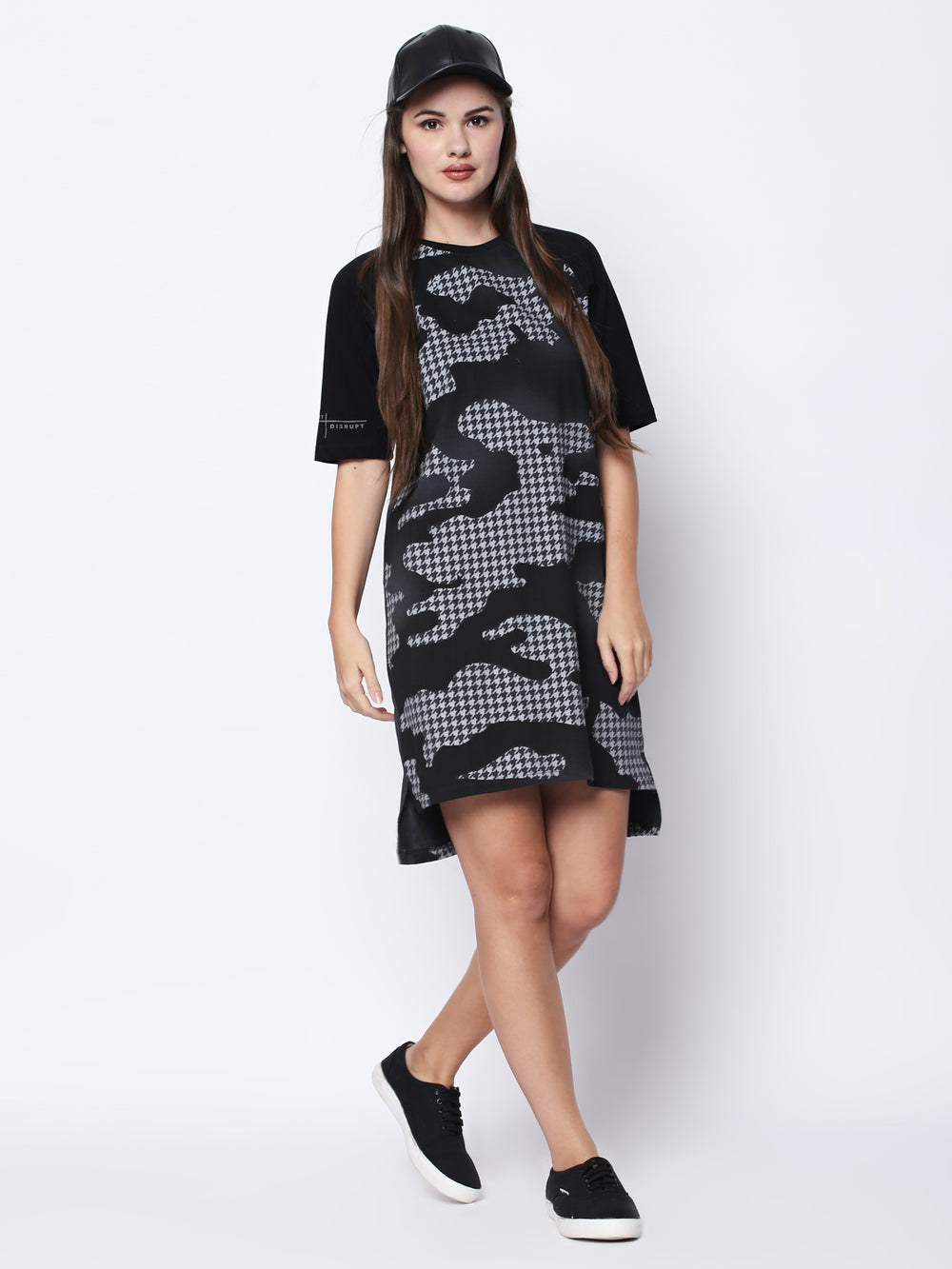 Charcoal Black Camouflage Print Half Sleeve Dress