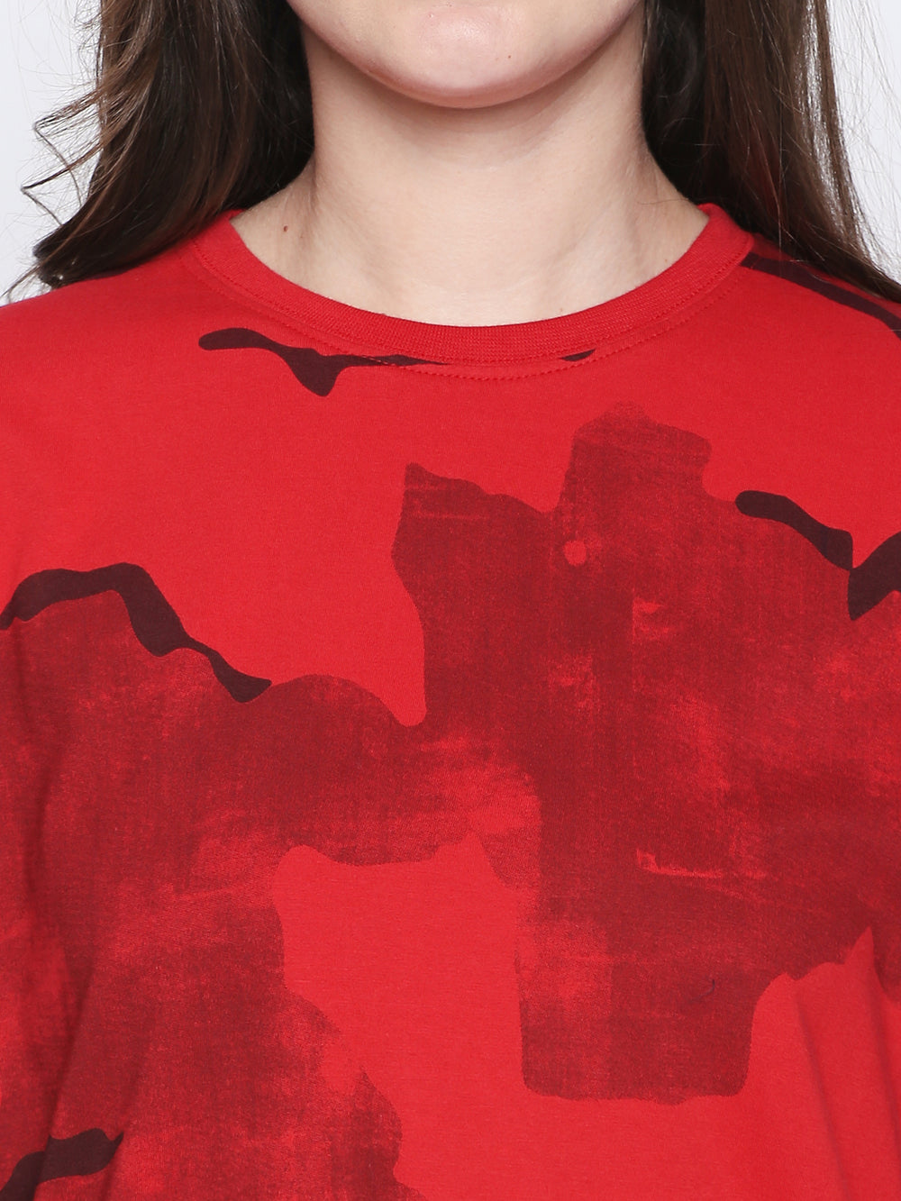 Red Military Camouflage Boyfriend-Fit Dress