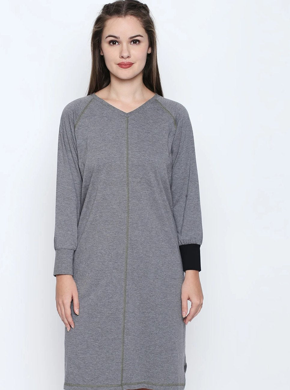 Disrupt Grey Cotton Full Sleeve Dress