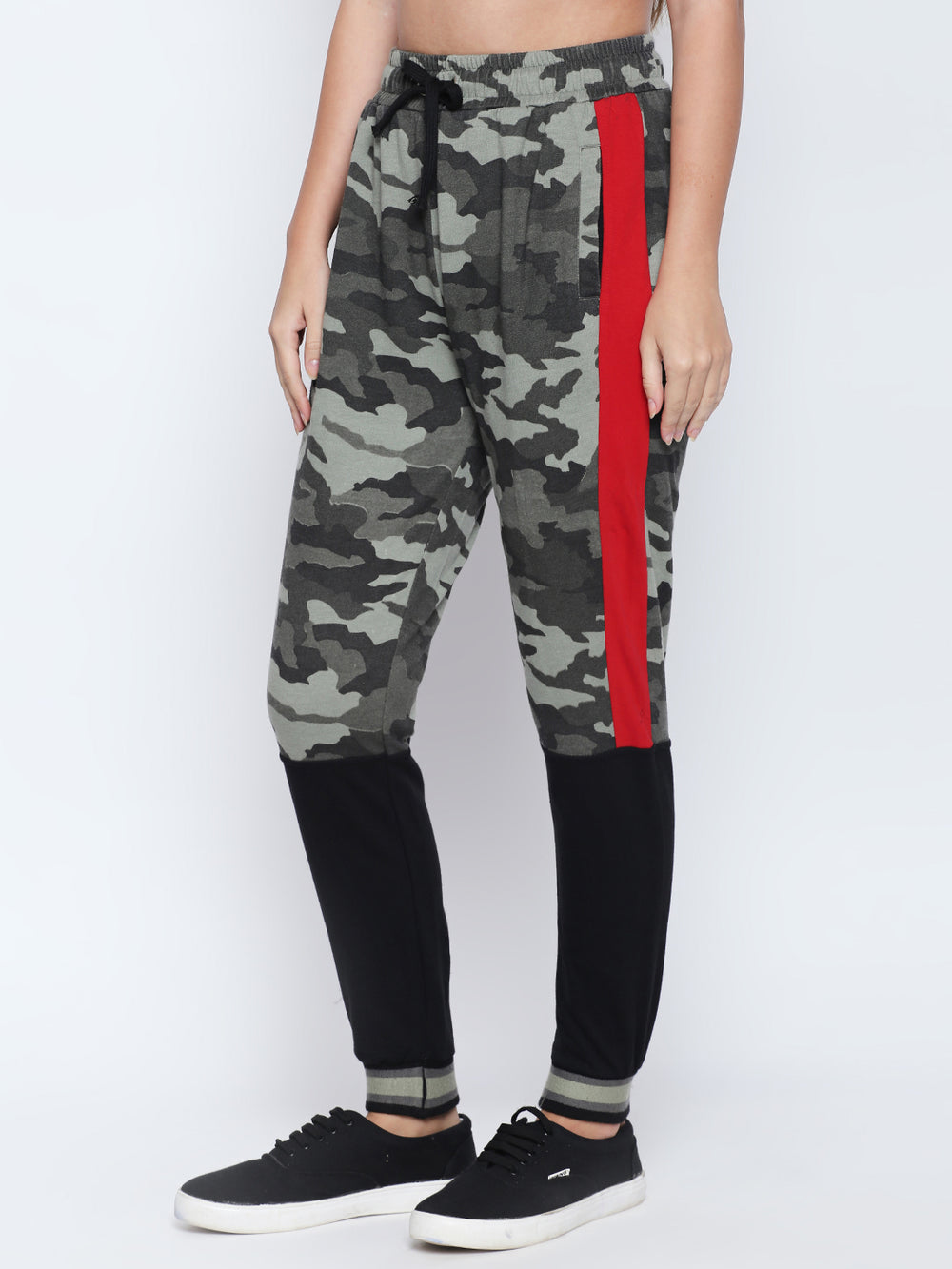 Olive Camouflage Print Red N Black Patterned Jogger