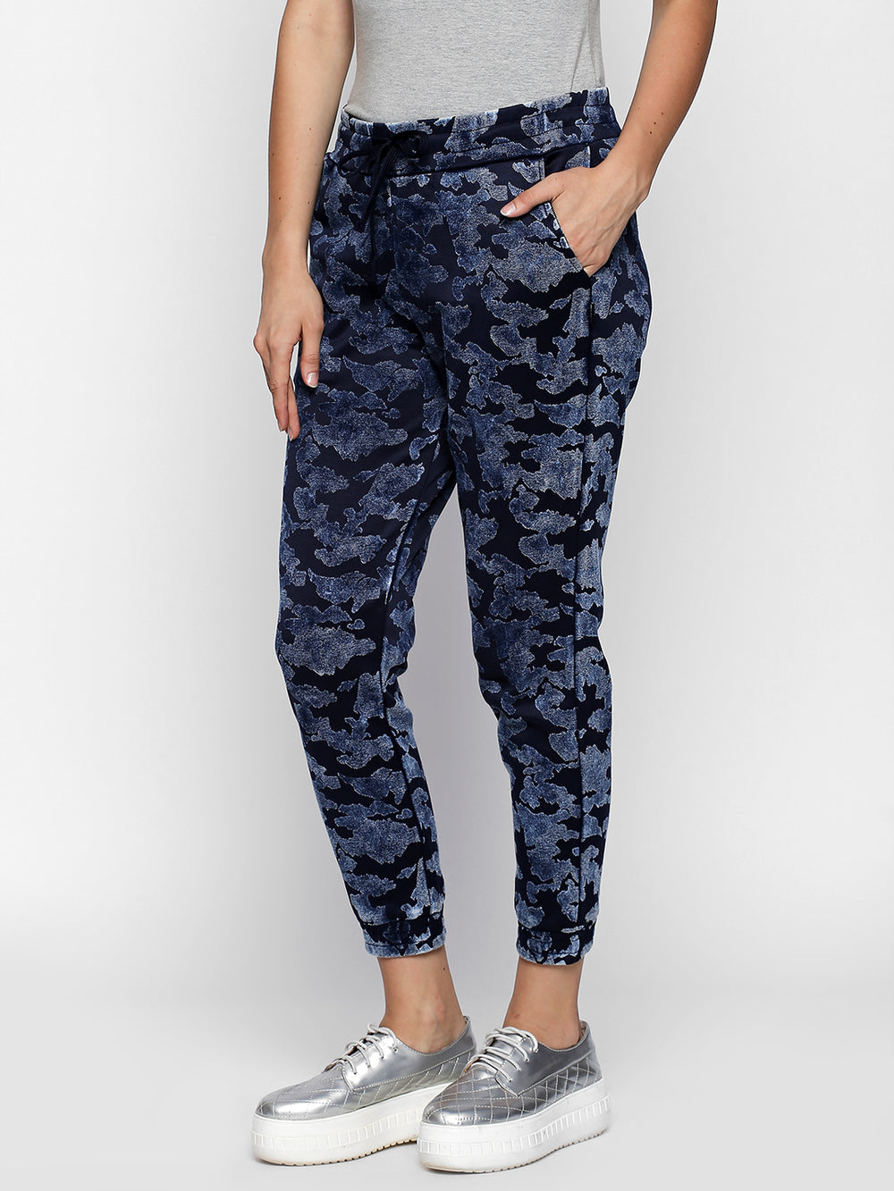 Navy Blue Camouflage Print Cotton Joggers