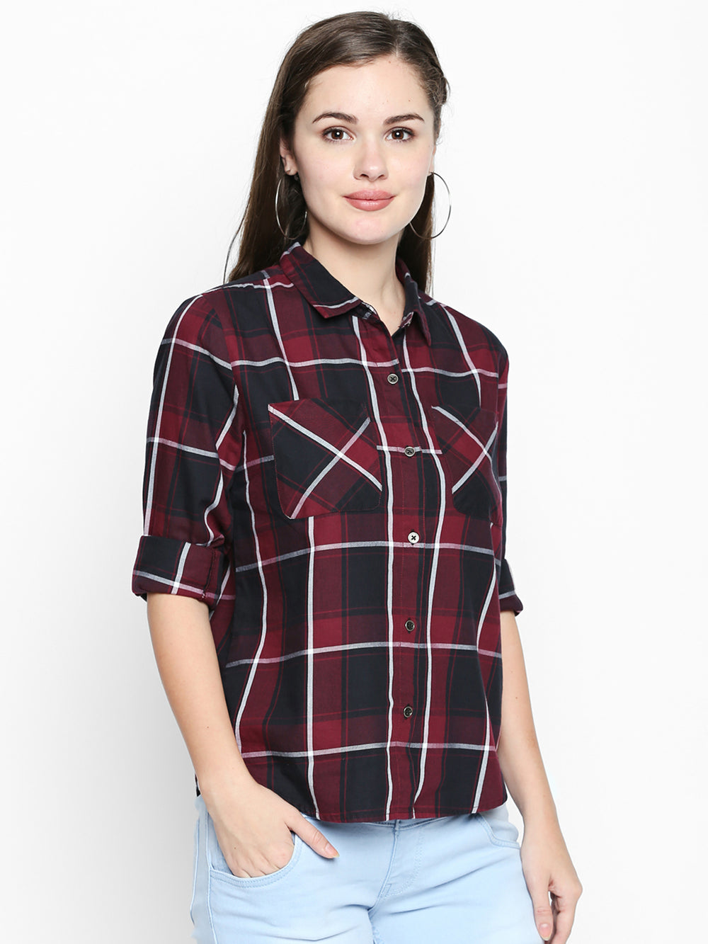 Maroon N Black Cotton Fabric Checkered Regular-Fit Shirt