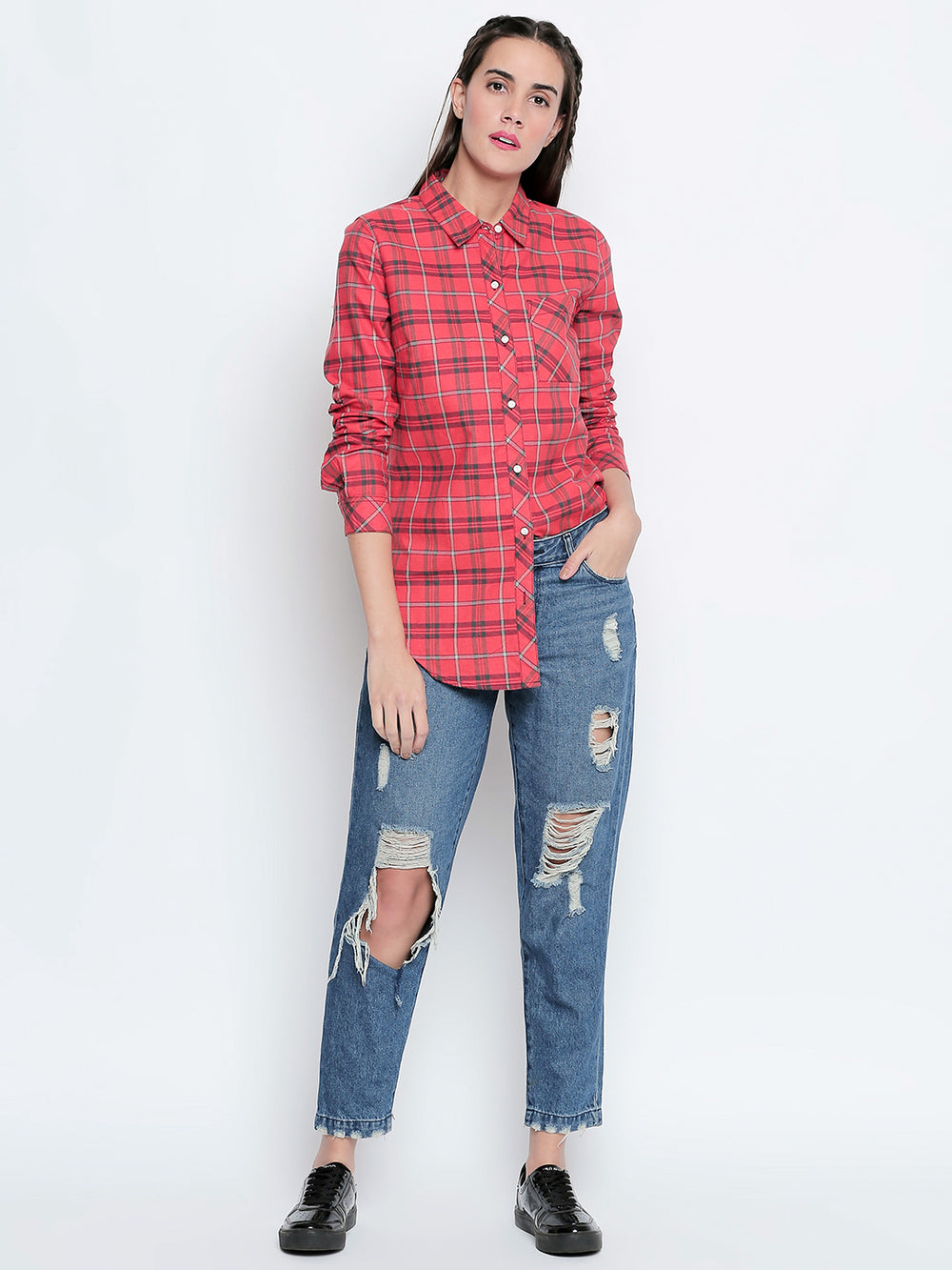Red Checkered Cotton Fabric Casual Cut Away Shirt
