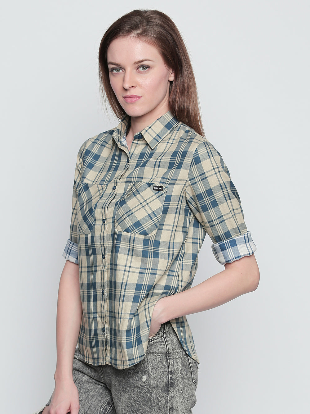 Off White N Turquoise Cotton Fabric Checkered Regular Fit Shirt