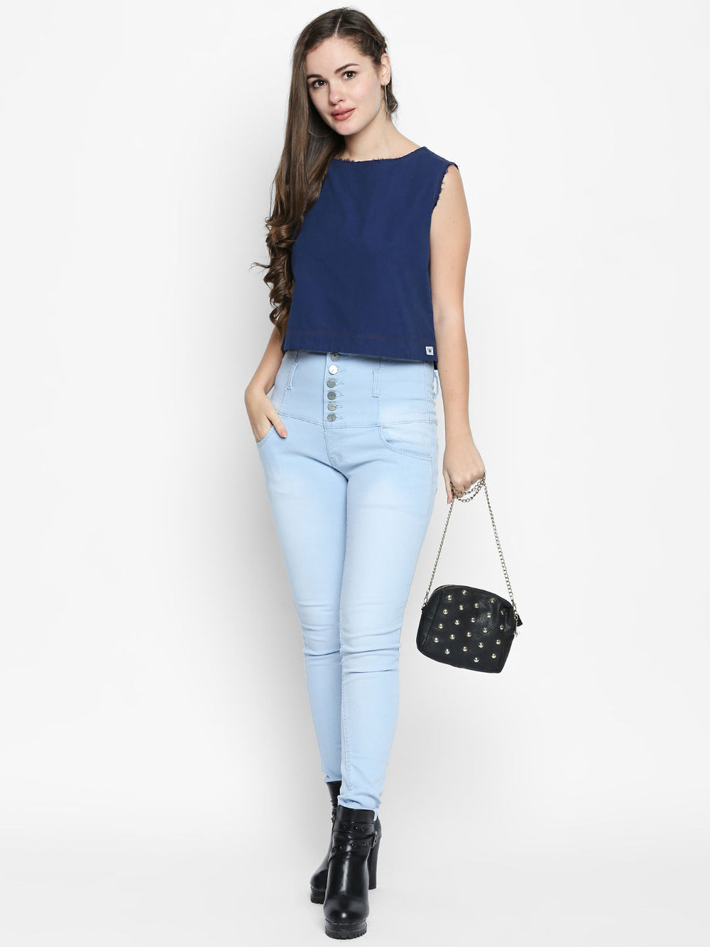 Dark Blue Ripped Neck Boxy Fit Cotton Top