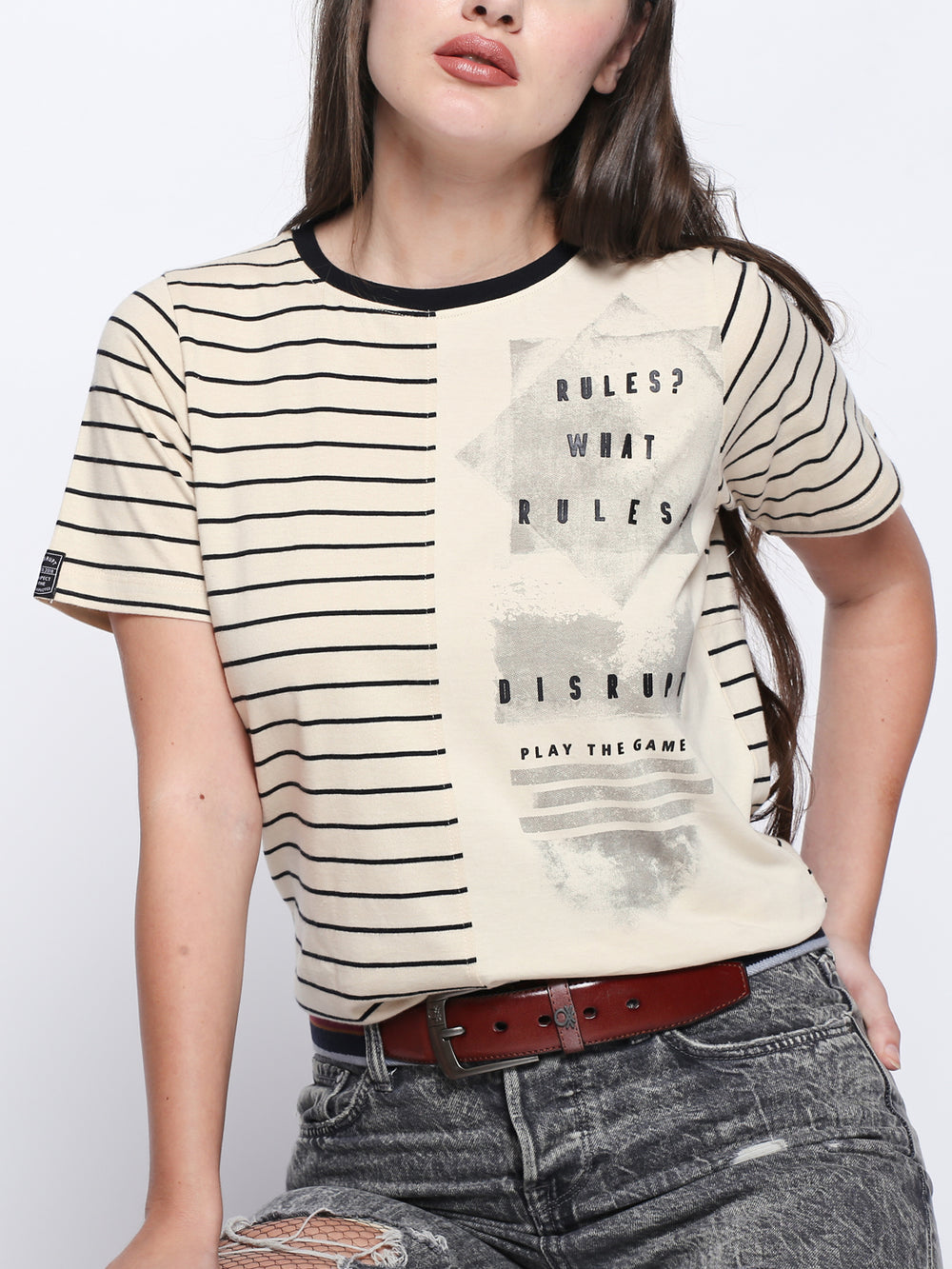 Beige Disrupt Graphic Print Cotton T-Shirt For Women's