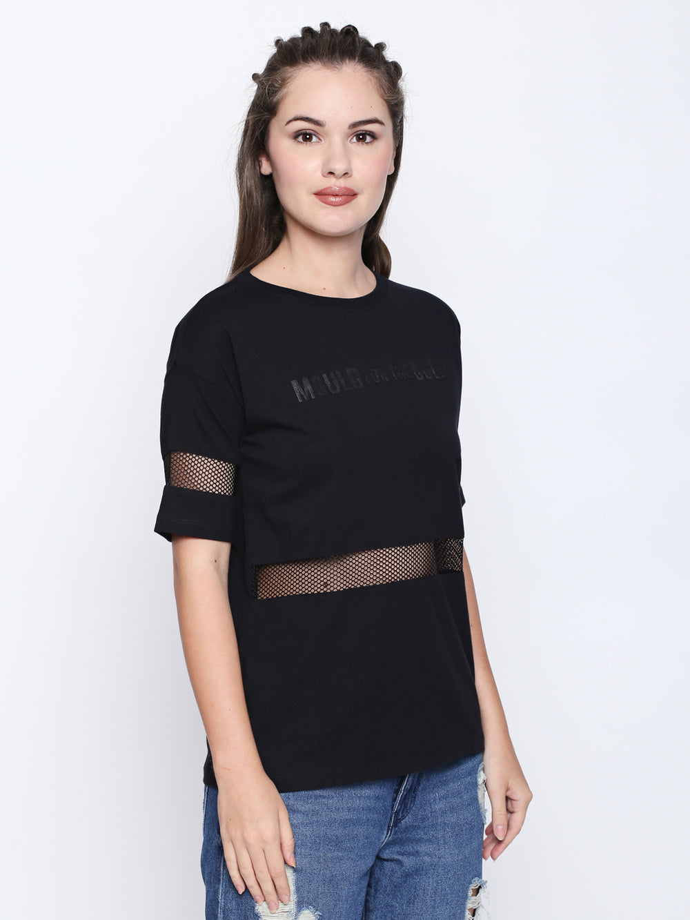 Disrupt Black Cotton Half Sleeve T-Shirt