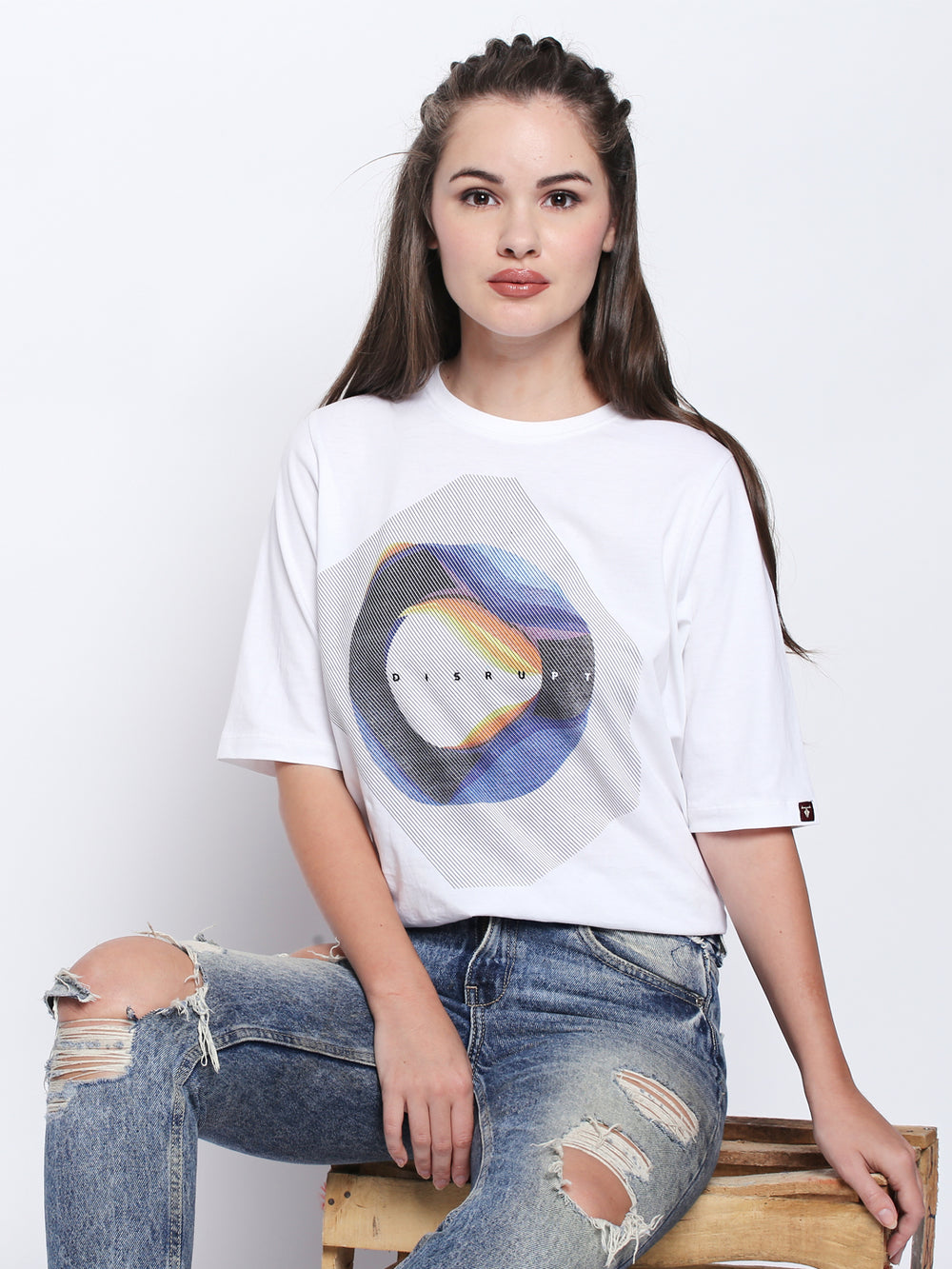 White Graphic Print Cotton Half Sleeve T-Shirt