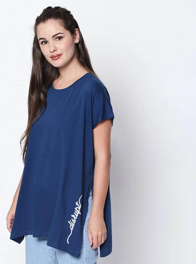 Blue Disrupt Graphic Print Split Side Top