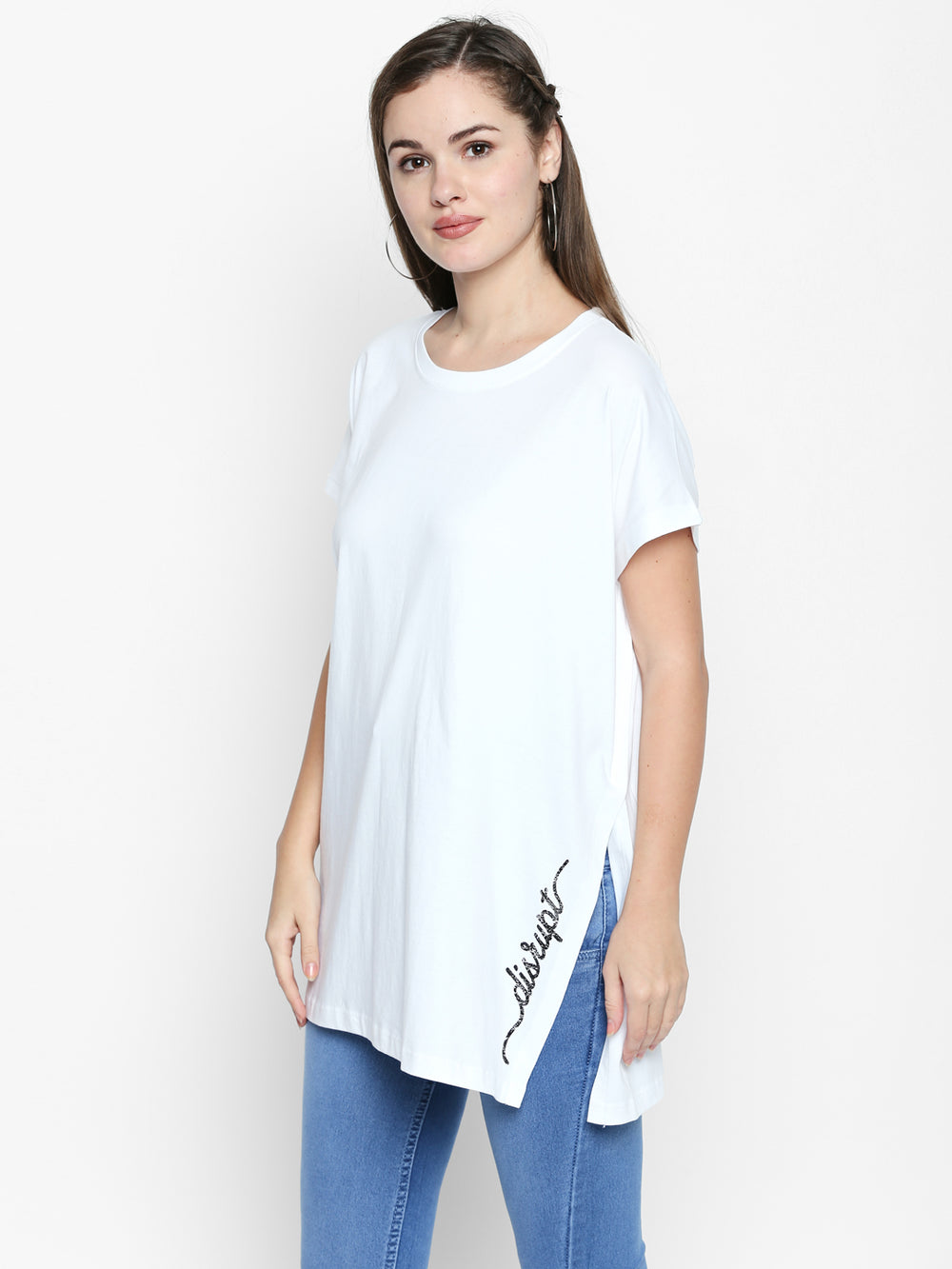 White Disrupt Graphic Print Split Side T-Shirt For Women's