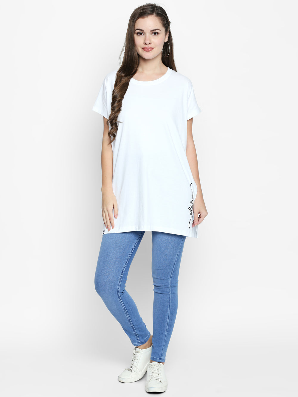 White Disrupt Graphic Print Split Side Top