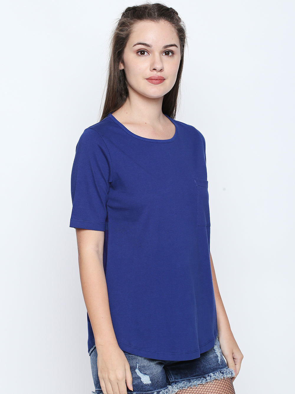 Disrupt Royal Blue Cotton Half Sleeve T-Shirt