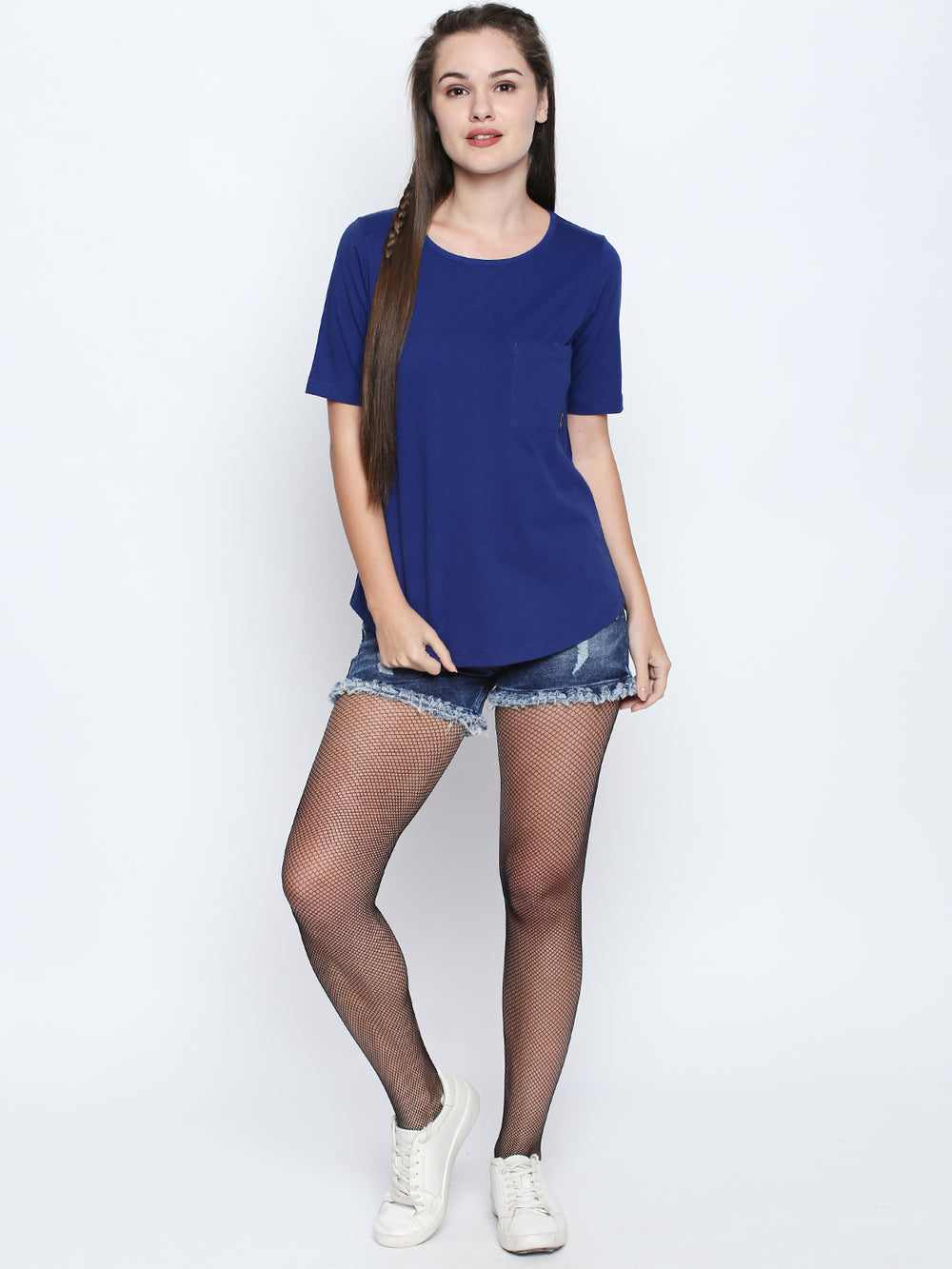 Disrupt Royal Blue Cotton Half Sleeve T-Shirt For Women's