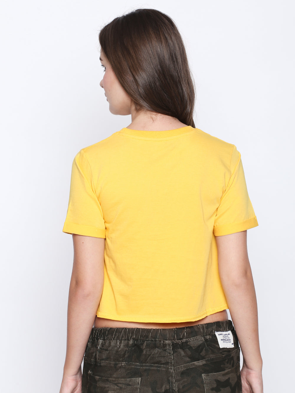 Yellow Disrupt Print Cotton Crop Top