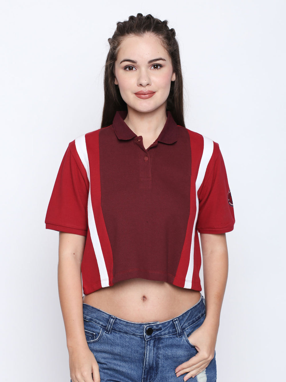 Red Cropped Polo T-shirt