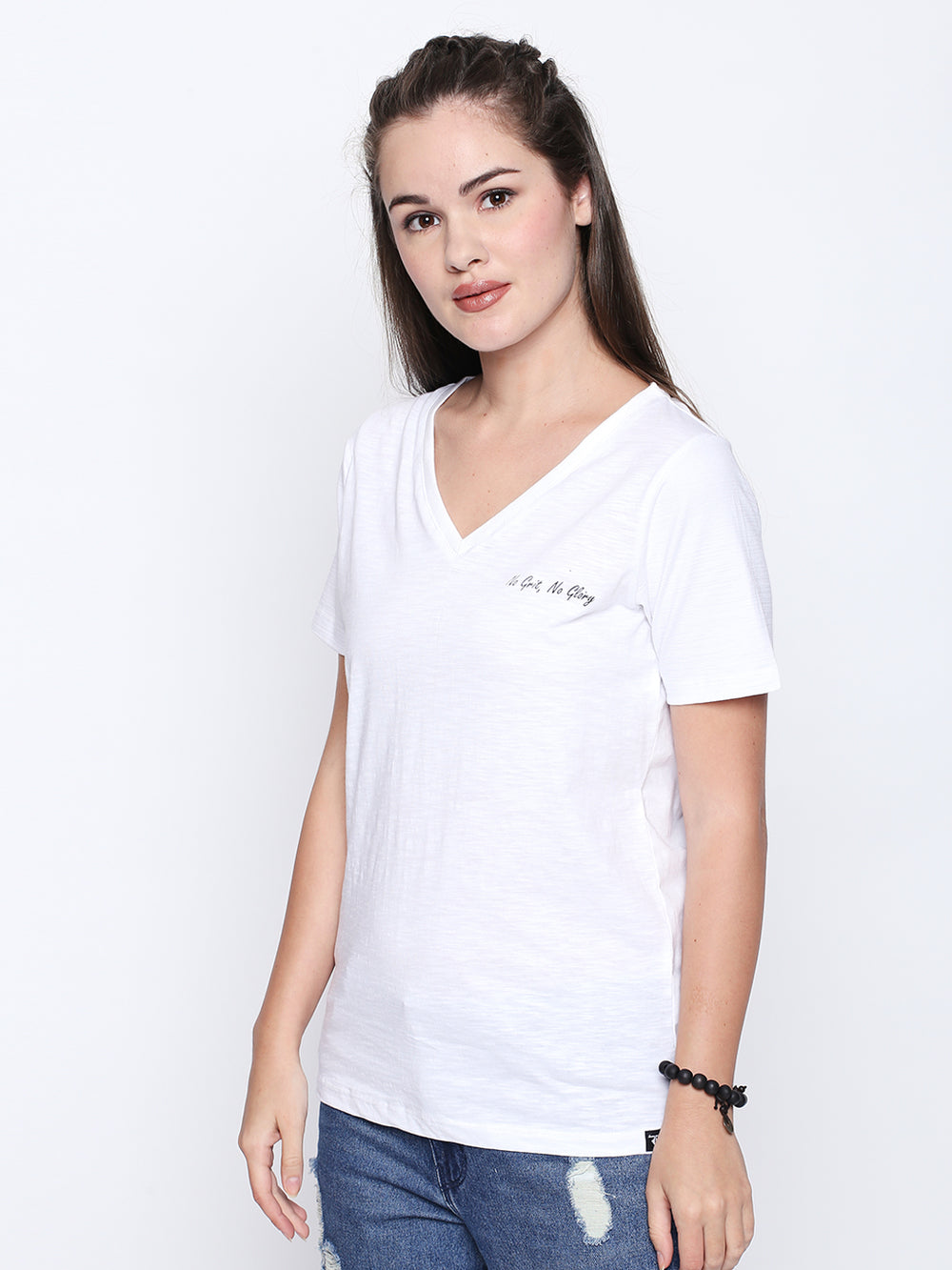 White V-Neck Refuse To Be Ordinary Print T-shirt for Women's