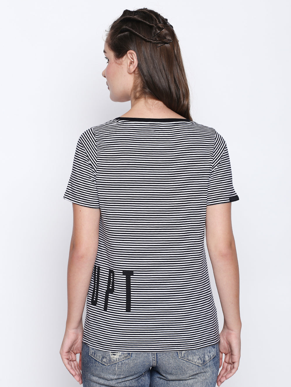 Black N White Horizontal Stripe T-Shirt For Women's