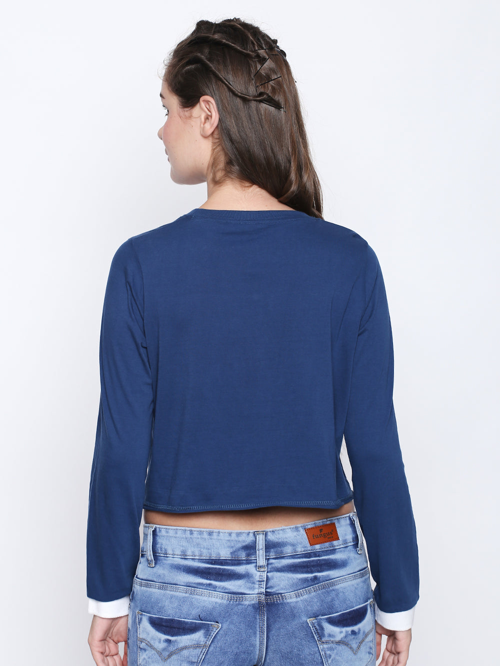 Navy Blue Unformulated Full Sleeve Crop Top For Women's