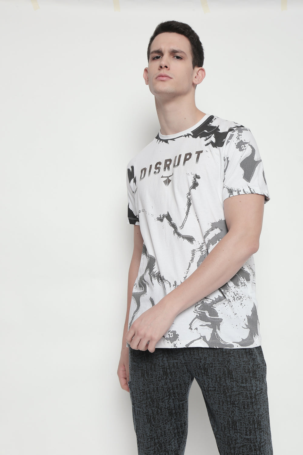 White Disrupt Graphic Print Patterned Half Sleeve Cotton T-Shirt