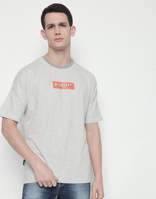Disrupt Grey Melange yarn-dyed drop shoulder Boxy Printed T-shirt for Mens