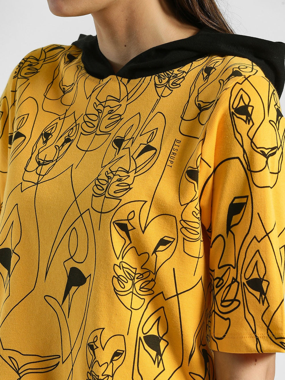 Yellow Lioness Abstract Print Hoodie