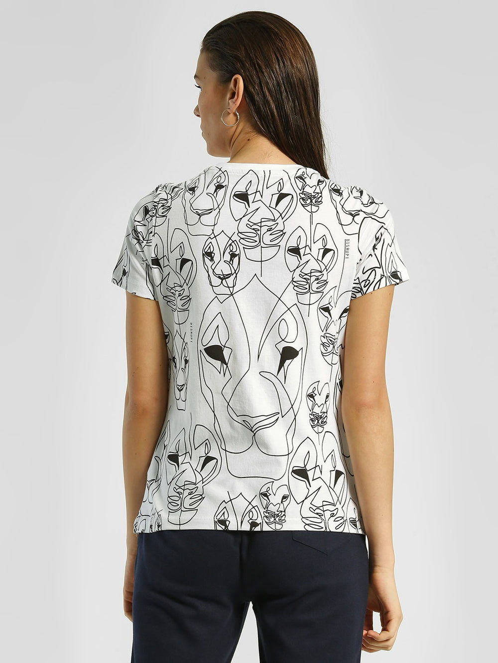 White Roar Graphic Print Cotton T-shirt